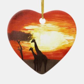 Giraffe Silhouette Double-Sided Heart Ceramic Christmas Ornament
