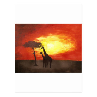 Giraffe Silhouette Postcard