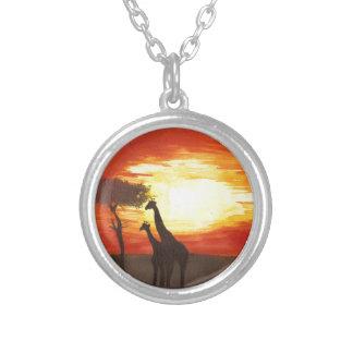Giraffe Silhouette Round Pendant Necklace