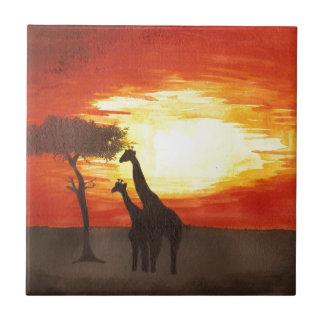 Giraffe Silhouette Small Square Tile