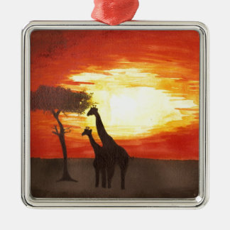 Giraffe Silhouette Square Metal Christmas Ornament