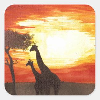 Giraffe Silhouette Square Sticker