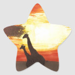 Giraffe Silhouette Star Sticker