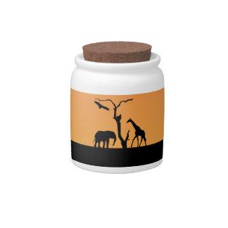 Giraffe silhouette sunset cookie, candy jar