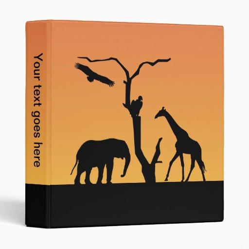 Giraffe silhouette sunset photo album, binder
