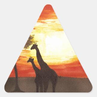 Giraffe Silhouette Triangle Sticker