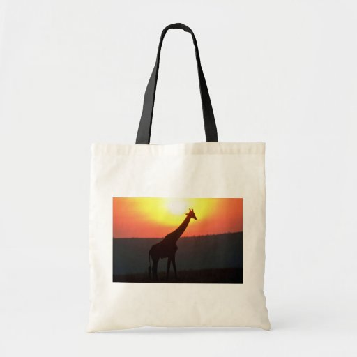 Giraffe - Silhouetted At Sunset Budget Tote Bag