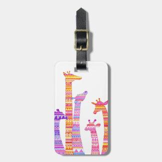 Giraffe Silhouettes in Colorful Tribal Print Bag Tag