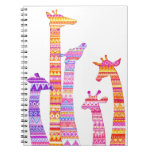 Giraffe Silhouettes in Colorful Tribal Print Spiral Notebooks