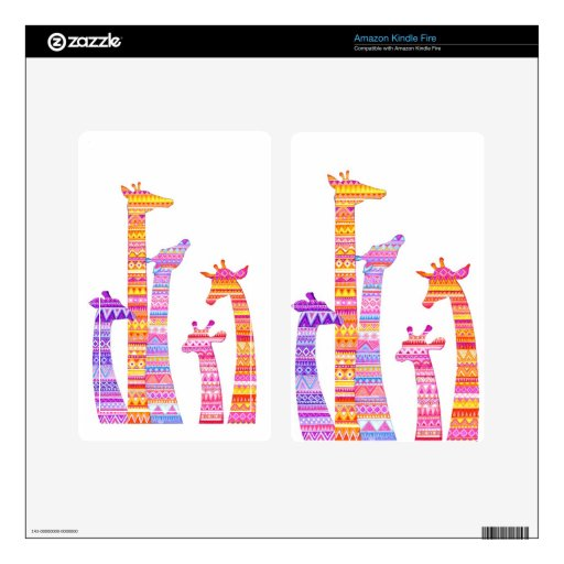 Giraffe Silhouettes in Colorful Tribal Print Kindle Fire Skins