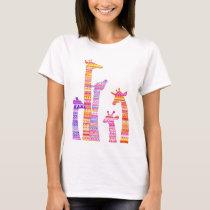 Giraffe Silhouettes in Colorful Tribal Print T-Shirt