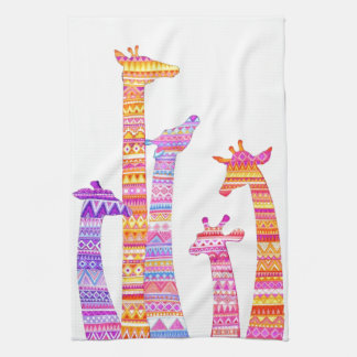 Giraffe Silhouettes in Colorful Tribal Print Towels