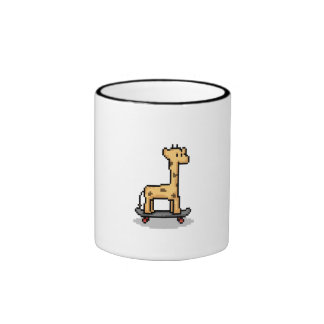 Giraffe Skateboarding Ringer Mug