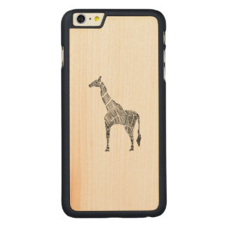 Giraffe Sketch Carved® Maple iPhone 6 Plus Case