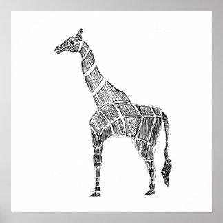 Giraffe Sketch Poster