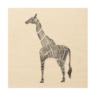 Giraffe Sketch Wood Print