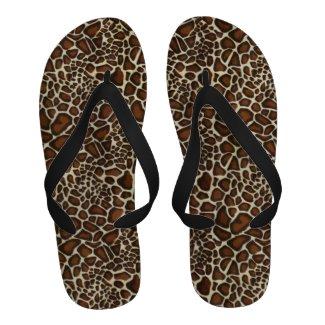 Giraffe Skin Camouflage Texture Flip Flops
