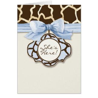Giraffe Skin Pattern Birth Newborn Baby Girl Photo Card