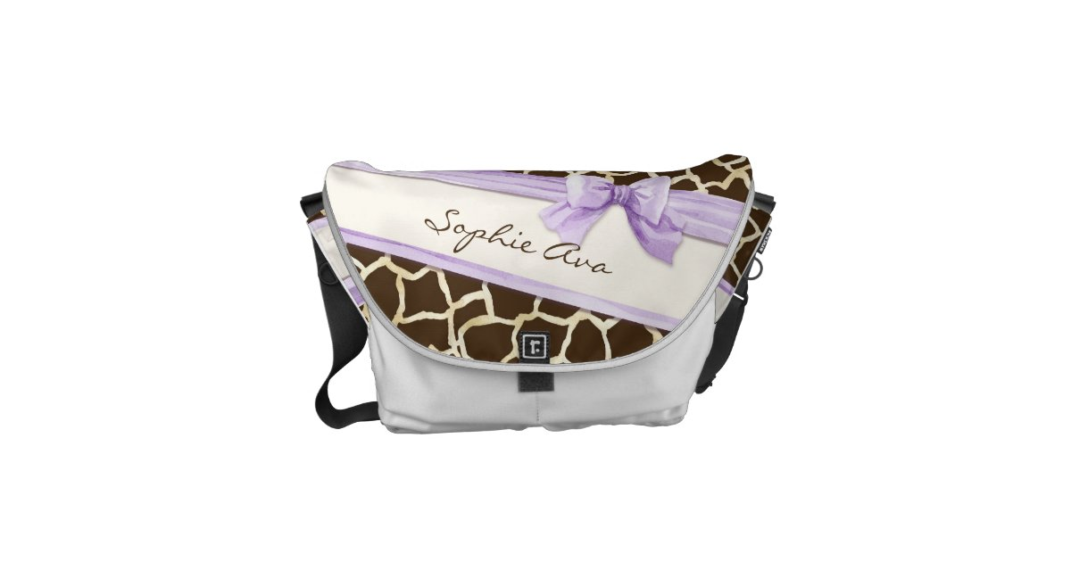 giraffe skin pattern ribbon n bow baby girl diaper courier bags zazzle. Black Bedroom Furniture Sets. Home Design Ideas