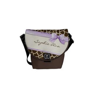 Giraffe Skin Pattern Ribbon n Bow Baby Girl Diaper Courier Bags