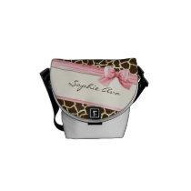 Giraffe Skin Pattern Ribbon n Bow Baby Girl Diaper Messenger Bag