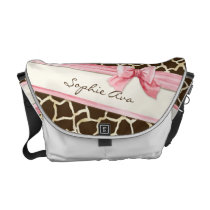 Giraffe Skin Pattern Ribbon n Bow Baby Girl Diaper Messenger Bag