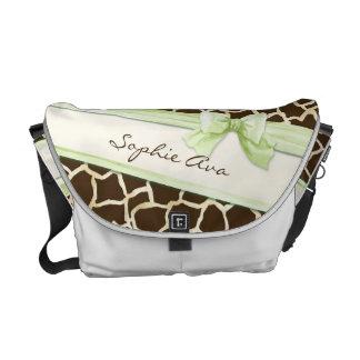 Giraffe Skin Pattern Ribbon n Bow Baby Girl Diaper Messenger Bags