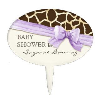 Giraffe Skin Pattern Ribbon n Bow Baby Girl Invite Cake Topper