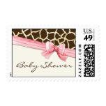 Giraffe Skin Pattern Ribbon n Bow Baby Girl Invite Postage
