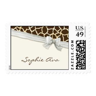 Giraffe Skin Pattern Ribbon n Bow Baby Girl Invite Stamps