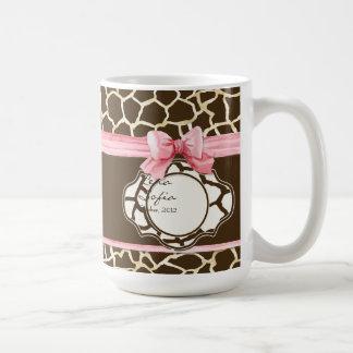 Giraffe Skin Pattern Ribbon n Bow Baby Girl Photo Coffee Mug