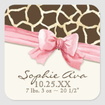 Giraffe Skin Pattern Ribbon n Bow Baby Girl Seals