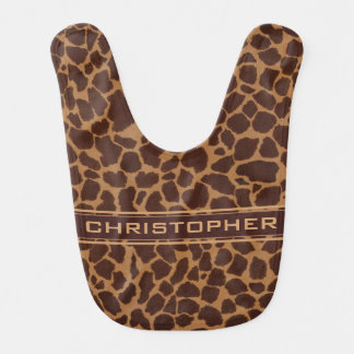 Giraffe Skin Print Pattern Personalize Baby Bib