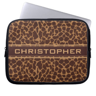 Giraffe Skin Print Pattern Personalize Laptop Sleeve