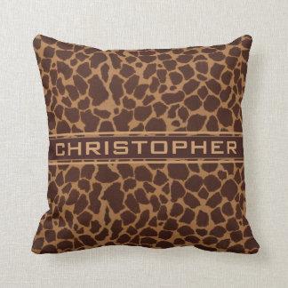 Giraffe Skin Print Pattern Personalize Throw Pillow