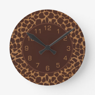 Giraffe Skin Print Pattern Round Clock