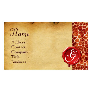 GIRAFFE SKIN ,RED WAX SEAL PARCHMENT Monogram Business Card