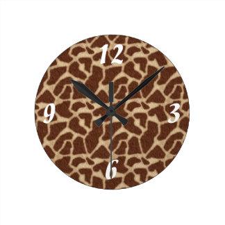 Giraffe Skin Spots 2 Round Clock