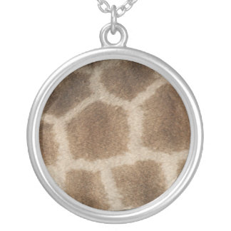 Giraffe skin with brown spots, photo from Africa Silver Plated Necklace