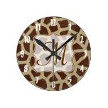 Giraffe Spot Animal Monogram Initial Wall Clock