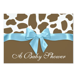 "Giraffe Spots and Blue Bow Baby Shower 5"" X 7"" Invitation Card"