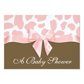 Giraffe Spots and Pink Bow Baby Shower Card