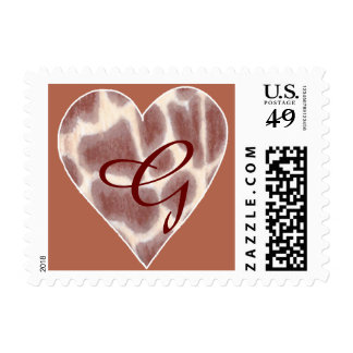 Giraffe Spots Heart Monogram Stamps