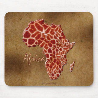 Giraffe Spots Map of AFRICA on Parchment Wildlife Mouse Pad