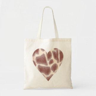 Giraffe Spots Pattern in a Heart Shape Canvas Bags
