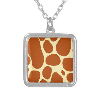 giraffe spots pattern silver plated necklace