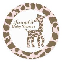 Giraffe Spots Pink Baby Shower Classic Round Sticker