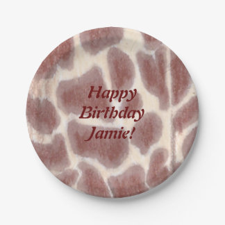 Giraffe Spots Safari Birthday Plates 7 Inch Paper Plate