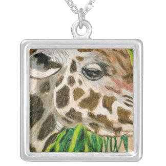 giraffe square pendant necklace