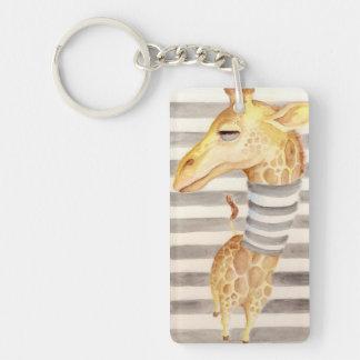 Giraffe Stripes Double-Sided Rectangular Acrylic Keychain